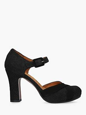 Chie Mihara Dara Block Heel Ankle Strap Court Shoes, Black