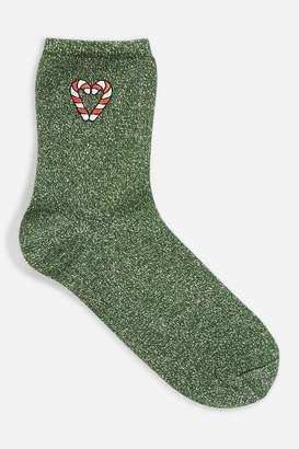 Topshop Christmas 'Candy Cane' Metallic Thread Socks