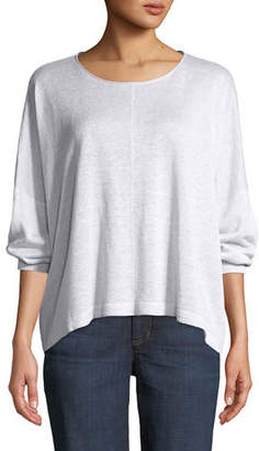 Eileen Fisher Organic Linen Jewel-Neck Box Top, Petite