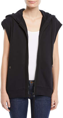 No.21 No. 21 Sleeveless Zip-Front Sequin Hoodie Sweatshirt