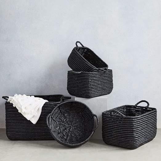 Woven Seagrass Baskets - Black
