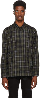 Neil Barrett Black and Khaki Plaid Military Shirt