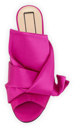 No.21 No. 21 Pleated Satin Slide Mule Sandal, Hot Pink