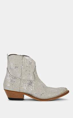 Golden Goose Women's Young Glitter Leather Ankle Boots - Silver