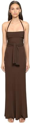 Alberta Ferretti Jersey Long Dress W/ Wrap Around Ties
