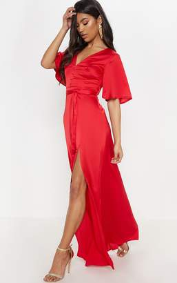 PrettyLittleThing Red Satin Button Detail Flared Sleeve Maxi Dress