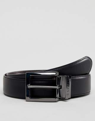 Esprit Smart Leather Reversible Belt In Black And Brown
