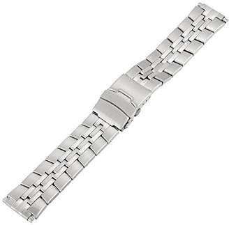 Voguestrap TX167W Allstrap 16-22mm Silver Adjustable-Length Semi-Solid Band With Push Button Watchband