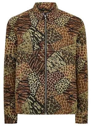 Topman Mens Multicolor Animal Patchwork Long Sleeve Overshirt