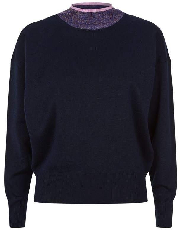 Contrast Collar Sweater