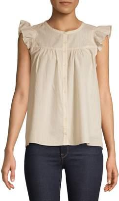 Madewell Ruffle Cap-Sleeve Cotton Blend Top