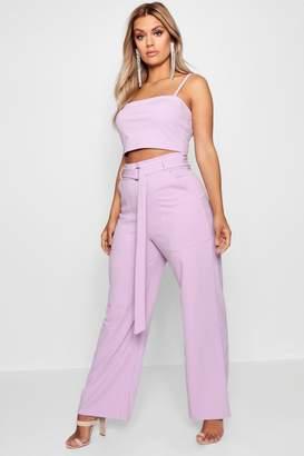 boohoo Plus Sia Crepe Crop Top + Tailored Trouser Co-Ord