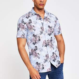 River Island Mens Light Blue floral slim fit shirt