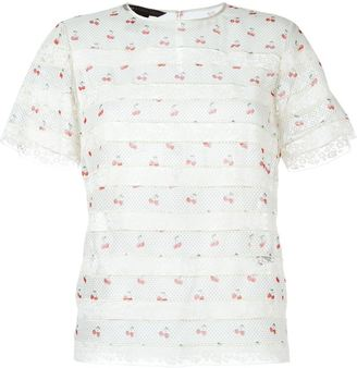 Marc By Marc Jacobs lace insert T-shirt blouse $314.27 thestylecure.com