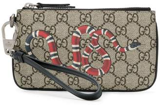 Gucci snake print GG Supreme card holder