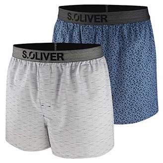 S'Oliver Men's 26.899.97.4249 Boxer Shorts, (Blue AOP & Blue A), (Size: 7)