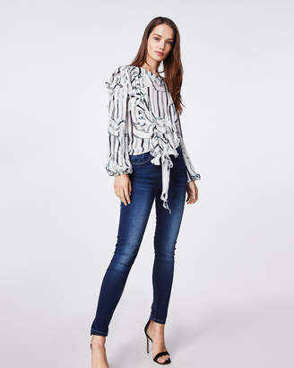 Nicole Miller Summer Stripes Ruffle Blouse