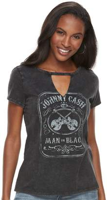 "Rock & Republic Women's Johnny Cash Man in Black"" Choker Neck Tee"