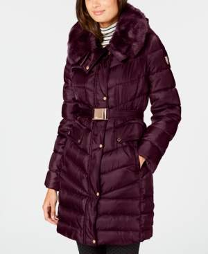 Vince Camuto Faux-Fur-Trim Hooded Belted Puffer Coat
