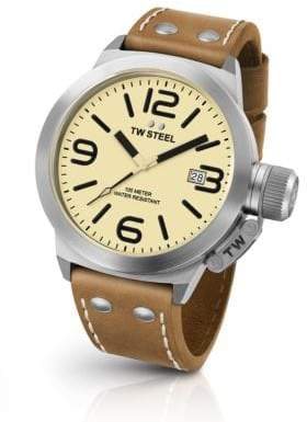 TW Steel Canteen 45MM Stainless Steel& Leather Strap Watch