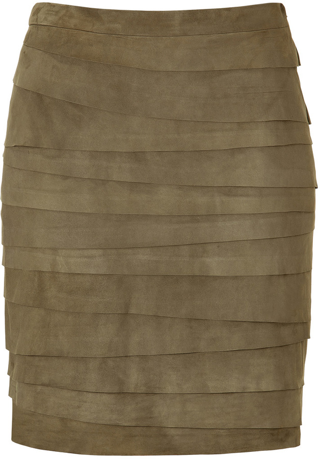 Ralph Lauren Black Lea Vintage Moss Lightweight Suede Skirt