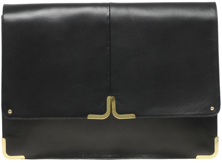 ASOS Leather Portfolio Clutch With Metal Tip