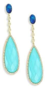 Meira T Diamond, Opal, Turquoise Doublet& 14K Yellow Gold Drop Earrings