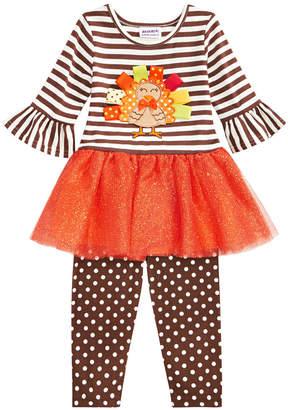 Blueberi Boulevard Baby Girls 2-Pc. Turkey Dress & Leggings Set