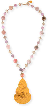 Devon Leigh Long Pink Opal & Moonstone Beaded Pendant Necklace