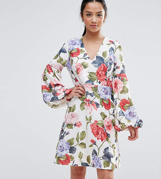 John Zack Petite Floral Mini Dress With Blouson Sleeve