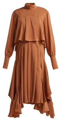 Chloé Handkerchief Hem Silk Crepe De Chine Dress - Womens - Light Brown