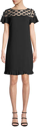 Karl Lagerfeld Paris Flower Mesh-Yoke Shift Dress