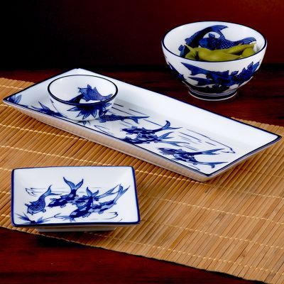 Blue Koi Fish Sushi Dinnerware