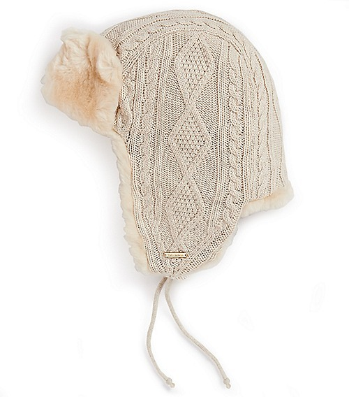 Tory Burch Cable Knit Trapper Hat