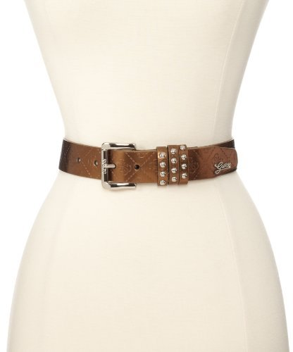 GUESS Women's 1 1/4 Inch Elrika Logo Three Studded Loops Belt