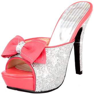 b1f08616e585 AIYOUMEI Women s Peep Toe Shoes Glitter Platform Stiletto High Heels Sandals  with Bows