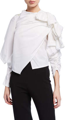Awake Gathered High-Neck Top w/ Exaggerated Sleeves