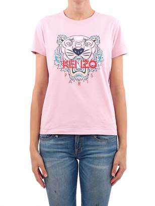 Kenzo Pink Tee With Tiger Print