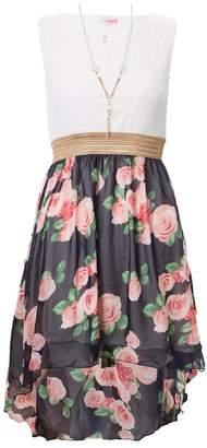 Noroze Girls Asymmetrical Floral Hem Chiffon Dress