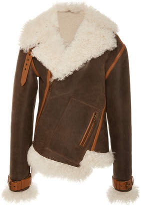 Monse Twisted Shearling-Lined Leather Jacket