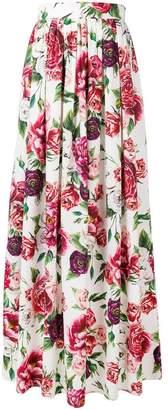 Dolce & Gabbana peony print maxi skirt