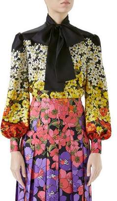 Gucci Long-Sleeve Floral Dégradé Twill Blouse w/ Tie Neck