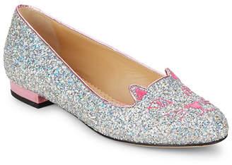 Charlotte Olympia Fantasy Glitter Kitty Flats