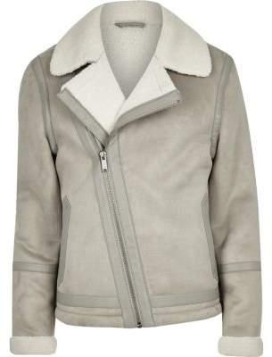 River Island Grey borg lined biker jacket