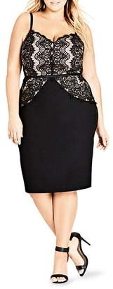 City Chic Plus Spell It Out Lace Paneled Sheath Dress