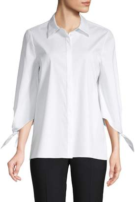 Lafayette 148 New York Self-Tie Three-Quarter Sleeve Blouse