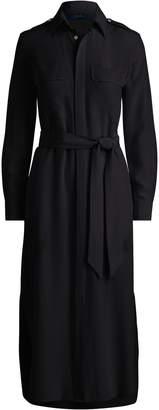 Ralph Lauren Belted Silk Crepe Shirtdress