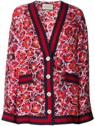 Gucci poppy garden print cardigan