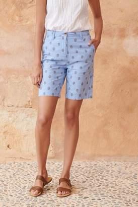 Next Womens Daisy Print Linen Blend Knee Shorts