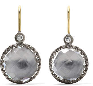 Larkspur & Hawk Olivia Button Small Rhodium-dipped Quartz And Diamond Earrings - Gold